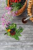 Rosyjski samowar na nieociosanym drewnianym stole z jagodami i kwiatami Fotografia Royalty Free