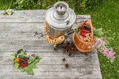 Rosyjski samowar na nieociosanym drewnianym stole z jagodami i kwiatami Obrazy Stock