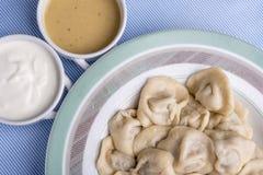 Rosyjski tradycyjny posiłek - pelmeni, domowej roboty mięsne kluchy na talerzu, zdjęcie royalty free