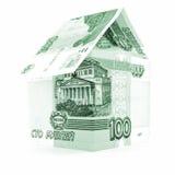 Rosyjski waluta rubla biznes, rublowy banknotu dach odizolowywający, biały tło Zdjęcia Stock