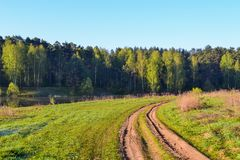 Rosyjski wiejski krajobraz z pustą drogą gruntową Zdjęcia Royalty Free
