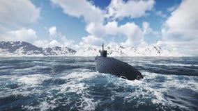 Rosyjski wspomagany energią jądrową łodzi podwodnej frontowy widok obrazy stock