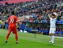 Rosyjski zawodnik środka pola Aleksandr Samedov i Poludniowo-koreański zawodnik środka pola Zdjęcie Stock