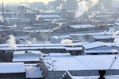 Rosyjski zima krajobrazu miasteczko Obraz Stock