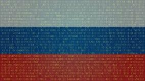 Rosyjskich hackerów technologii Abstrakcjonistyczny tło błękitny kodu komputeru głęboki płatowaty ekran V Obrazy Royalty Free