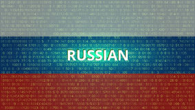 Rosyjskich hackerów technologii Abstrakcjonistyczny tło błękitny kodu komputeru głęboki płatowaty ekran V Fotografia Stock