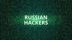 Rosyjskich hackerów technologii Abstrakcjonistyczny tło błękitny kodu komputeru głęboki płatowaty ekran V Zdjęcie Royalty Free