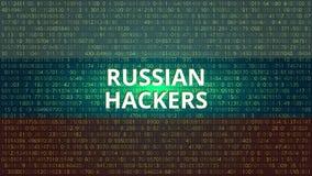 Rosyjskich hackerów technologii Abstrakcjonistyczny tło błękitny kodu komputeru głęboki płatowaty ekran V Fotografia Royalty Free