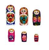 Rosyjskie lale Babushkas Matryoshkas obraz stock
