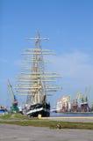 Rosyjskiego żagla stażowy statek Kruzenshtern. Kaliningrad Zdjęcie Royalty Free