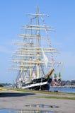 Rosyjskiego żagla stażowy statek Kruzenshtern. Kaliningrad Fotografia Royalty Free