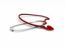 Rot 3d stetoscope Lizenzfreie Stockbilder