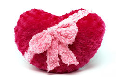 Rot angefülltes Herz lokalisiert auf weißem Hintergrund Stockfotos