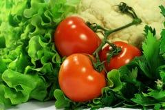 Rot auf Grün: frisches sortiertes Gemüse Stockfoto