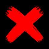Rot auf schwarzem Schmutzbürsten-Anschlagkreuz keine Abnahme aggressiv vektor abbildung