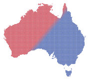 Rot Australiens Dot Map In Blue And Stockfotos