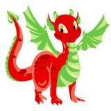 Rot beschmutzter Drache mit grünen Membranflügeln Lizenzfreies Stockfoto