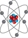 rot-blaues realistisches Atom mit Bahnen lizenzfreie abbildung