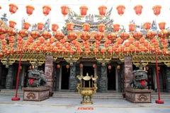 Rot-chinesische Laternen-Dekoration Stockfoto