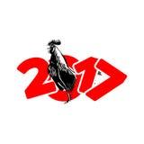 Rot des neuen Jahres des Hahns Stockfotografie