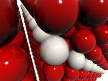 Rot ein weißer Kugelaufbau Stockbilder