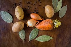 Rot fresh vegetables on the table. Vegetables on the table carrot onion potato near spices of black pepper and bay leaf on the wooden background Royalty Free Stock Photos