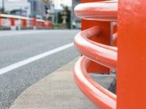 Rot gebogene Wand der Brücke in Yamaguchi-Stadt Stockbild