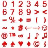 Rot gebogene Zahlen 3D und Symbole Stockfoto