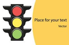 Rot, gelb, Grün Das Konzept der Straßenverkehrsinformation der Autos Fahne mit Platz für Text Flache Designart des Vektors vektor abbildung