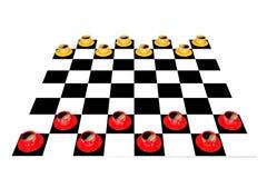 Rot-gelbe Kaffeetasse auf einem Schachbrett stock abbildung