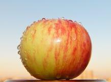 Rot-gelber Apfel mit Wasser lässt die Unterlassung des Himmels fallen Lizenzfreie Stockfotografie
