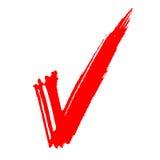 Rot gemaltes Häckchen Stockfoto