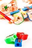 Rot, grün und zensieren Sie Bleistiftspitzer Lizenzfreie Stockfotos