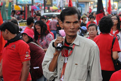 Rot-Hemd Protest in Bangkok Lizenzfreie Stockfotos