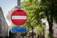 Rot kein Eintritts-Zeichen Stockfoto
