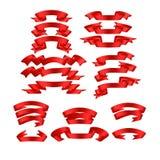 Rot mit Schatten und Steigungsbandvektorfahnensatz Stockfotos
