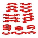 Rot mit Schatten und Steigungsbandvektorfahnensatz Stockfotografie