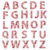 Rot punktiertes Alphabet beschriftet eps10 Lizenzfreie Stockfotos
