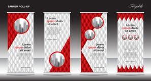 Rot rollen Sie oben Fahnenschablonen-Vektorillustration, Polygonhintergrund, standy Design, Anzeige, Anzeige stock abbildung