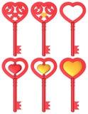 Rot-Satz des Herz-geformter Schlüssel-3D Stockfotografie