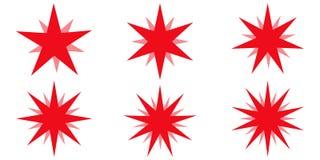Rot strahlt Feuerwerk Bestes für Verkaufsaufkleber, Preis, Gütezeichen, Stern-Glühenstrahlen des Vektors gesetztes, Gestaltungsel Lizenzfreies Stockfoto