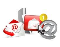rot treten Sie mit uns Ikonengraphikkonzept in Verbindung Lizenzfreies Stockfoto