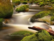 Rot trunk blocked between boulders at stream bank above bright blurred waves. Big mossy stones in clear water of river. Stock Photo