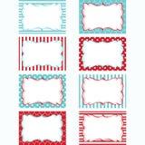 Rot und Aqua Printable Labels Set Tags, Foto-Rahmen, Geschenk-Tags, Scrapbooking, machende Karte, Einladung Stockbilder