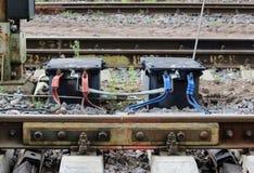 Rot und blau- ist es ein Teil des Bahnprotokolls Zu bestimmen, ob es wenn etwas gibt in, was der Lastzug Lizenzfreies Stockfoto