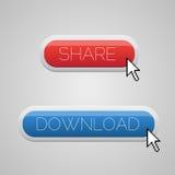 Rot und blaues Download und Anteiltastenset Stockfoto