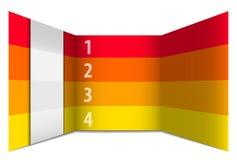 Rot und Gelb nummerierte Reihen in der Perspektive Stockbilder