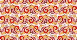 Rot- und Gelbstrudel und nahtloses Muster der Beeren in russischer khokhloma Art Lizenzfreies Stockbild