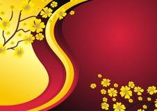 Rot und Goldhintergrund mit Blume Stockbild