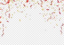 Rot und Goldkonfettis, Serpentin oder Bänder, die auf weißen tr fallen stock abbildung